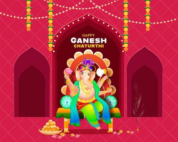 Hindoe-mythologie lord ganesha op troon idool met wierookstandaard en indiase zoete (laddu) voor een gelukkig ganesh chaturthi-feest.