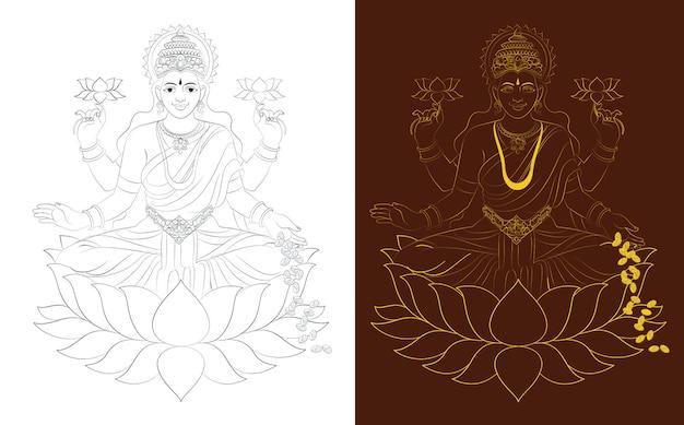 Hindoe mythologische godin laxmi of lakshmi illustratie of vector lijntekening