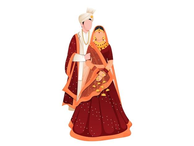 Hindoe pas getrouwd paar illustratie