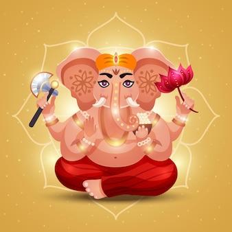 Hindoeïstische god ganesha met olifantenkop die bloem vasthoudt die licht uitstraalt met omtrekmandala