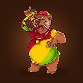 Hiphop beer teddy met wiet joint stoner dansmuziek.