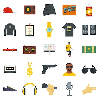 Hiphop rap swag muziek dans pictogrammen instellen