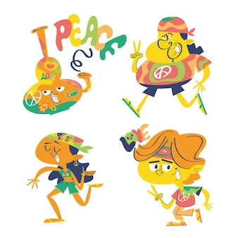Hippie doodle stickerset
