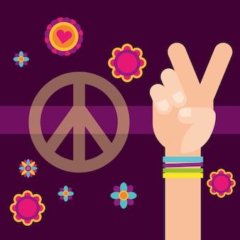 Hippie hand vrede en liefde bloemen vrije geest
