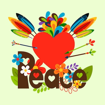 Hippie illustratie met hart