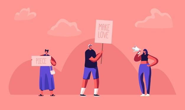 Hippie mannelijke en vrouwelijke activistische karakters met banners voor liefde en stuk, rel, piket.