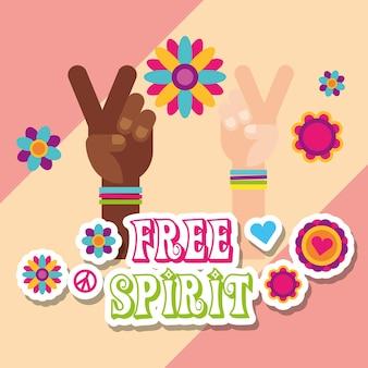Hippie multiraciale handen bloemen stickers vrije geest