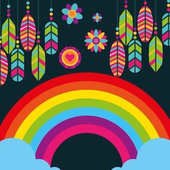 Hippie regenboogveren bloemen boho vrije geest
