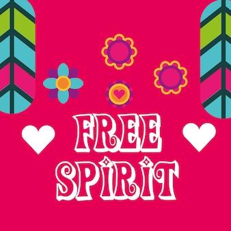 Hippie veren bloemen harten mode vrije geest