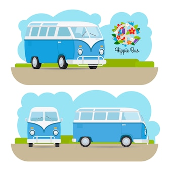 Hippie vintage blauwe minibusje