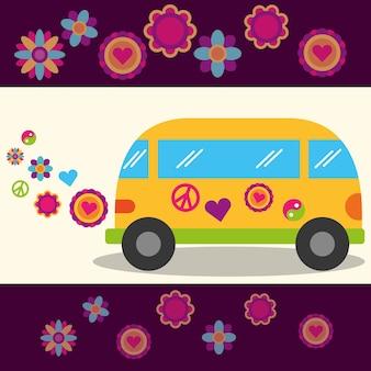 Hippie vrij geest van bloemen festival vredesteken