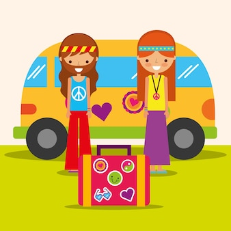 Hippie vrouw en man met busje en koffer vrije geest
