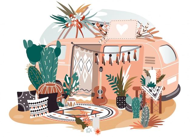 Hippiebusje in bohostijl, retro decoratie voor fotosessie, illustratie