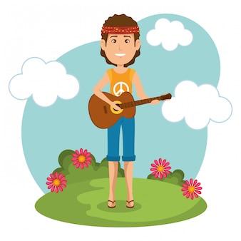Hippiemens die het karakter van de gitaarlevensstijl spelen