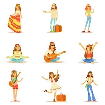 Hippies gekleed in klassieke woodstock jaren zestig hippie subcultuur kleding reizen, spirituele oefeningen doen en muziek spelen