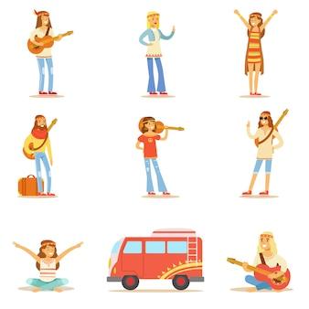 Hippies gekleed in klassieke woodstock jaren zestig hippie subcultuur kleding reizen, spirituele oefeningen doen en muziekcollectie spelen