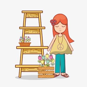 Hippies vrouw cartoon