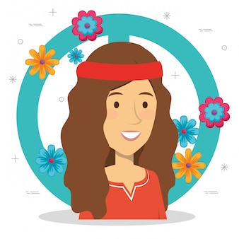 Hippievrouw met vredesteken en bloemen