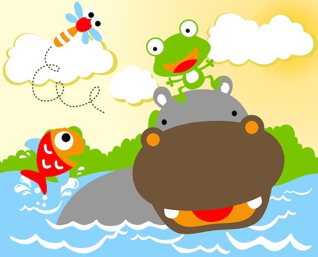Hippo en kleine vrienden, vectorbeeldverhaal
