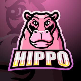 Hippo mascotte esport illustratie
