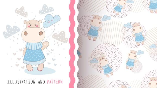 Hippo met wolken naadloos patroon