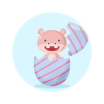 Hippo paasei schattig karakter logo