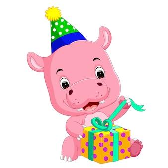 Hippo verjaardag krijgt een geschenk