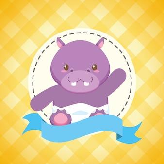 Hippo voor baby shower kaart