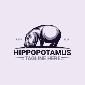 Hippopotamus logo sjabloon premium