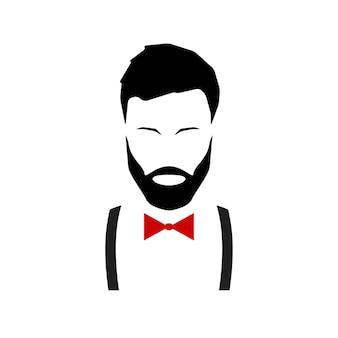 Hipster-avatar met een baard in bretels en een vlinderdas