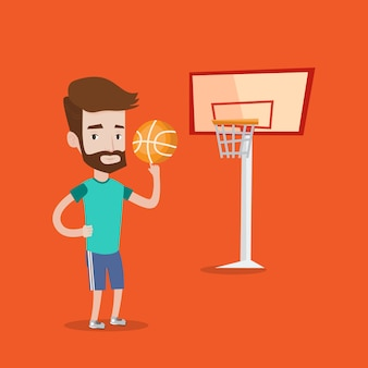 Hipster basketbalspeler draaiende bal.