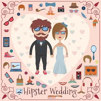 Hipster bruiloft kaart