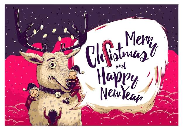 Hipster christmas wenskaart met herten en elfjes. vector illustratie