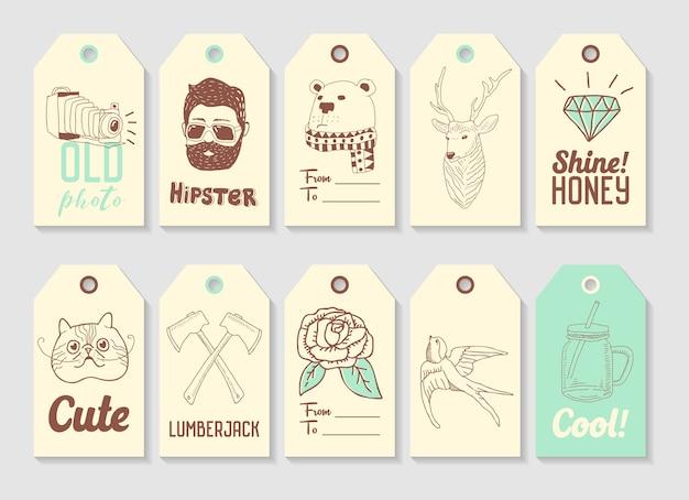 Hipster fashion hand getrokken tags-collectie. vintage stijl elementen uit de vrije hand herten dragen houthakker.