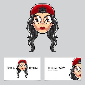 Hipster girl kaartsjabloon