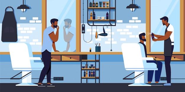 Hipster grooming place-kapper die cliënthaarkap doen