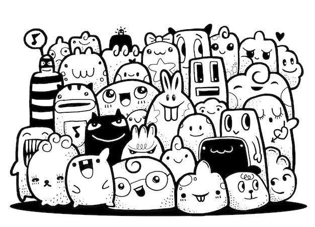 Hipster hand getrokken crazy doodle monster groep, tekenstijl