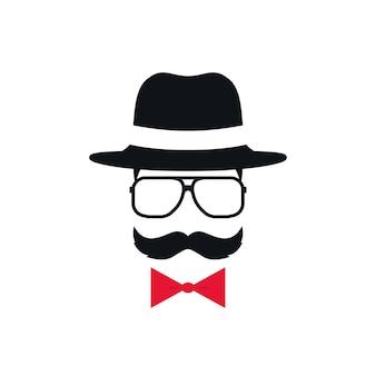Hipster in hoed, bril en rode vlinderdas. portret van man met snor. vector illustratie.