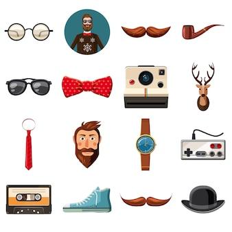 Hipster items pictogrammen instellen, cartoon stijl