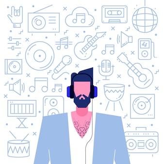Hipster karakter met muziek pictogrammen