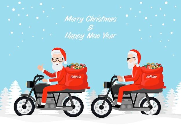 Hipster kerstman fietser rijden motorfietsen cartoon characterdesign