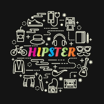 Hipster kleurrijke verloop met lijn pictogrammen instellen