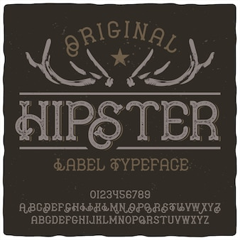 Hipster label lettertype