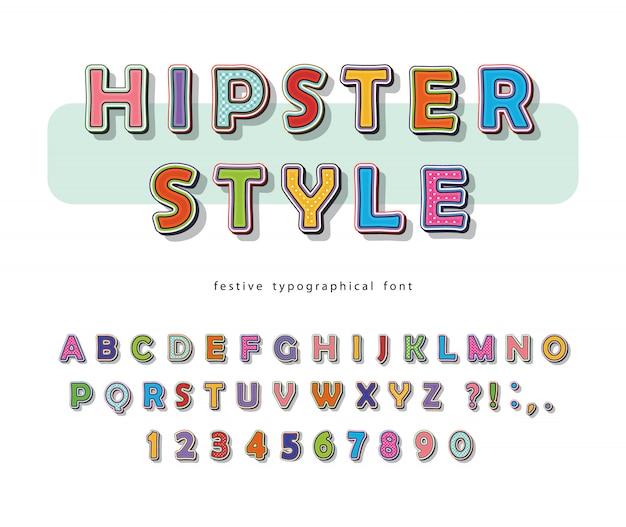 Hipster lettertype. komisch pop-art kleurrijk alfabet met letters en cijfers