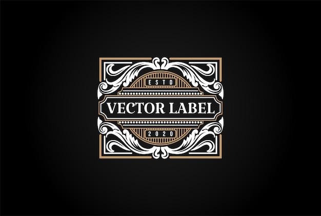 Hipster luxe retro vintage badge embleem label logo ontwerp vector