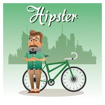 Hipster man cartoon met fiets pictogram
