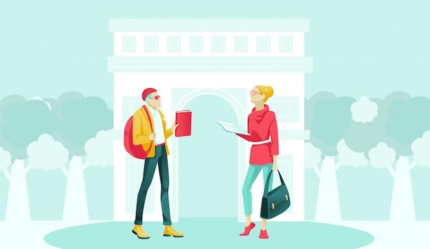 Hipster man en elegante vrouw praten op straat