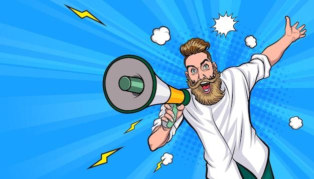 Hipster man en megafoon in retro vintage pop art comic style