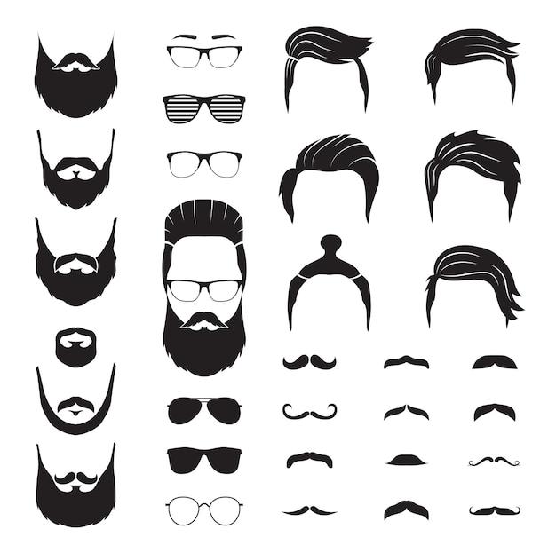 Hipster man. mannelijke baard, snorhaar. geïsoleerde man gezicht met bril. mode kapper winkel pictogrammen
