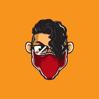 Hipster man mascotte